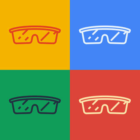Pop art line Laboratory glasses icon isolated on color background. Vector