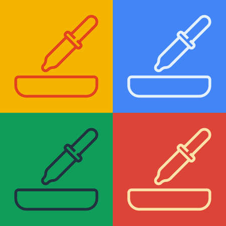 Pop art line Pipette icon isolated on color background. Element of medical, cosmetic, chemistry lab equipment. Vector