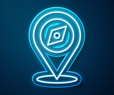 Glowing neon line Compass icon isolated on blue background. Windrose navigation symbol. Wind rose sign. Vector