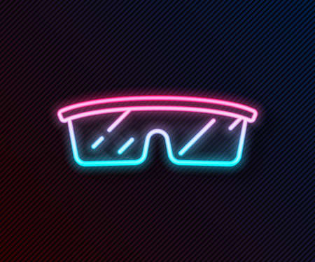 Glowing neon line Laboratory glasses icon isolated on black background. Vector Vettoriali