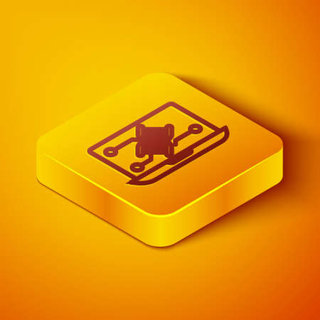 Isometric line Genetic engineering modification on laptop icon isolated on orange background. DNA analysis, genetics testing, cloning. Yellow square button. Vector