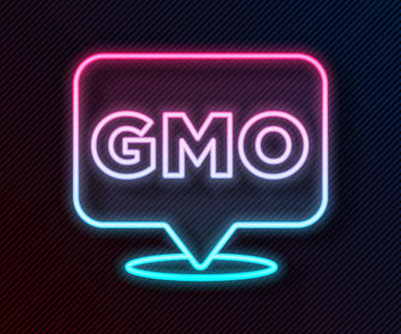 Glowing neon line GMO icon isolated on black background. Genetically modified organism acronym. Dna food modification. Vector Vettoriali