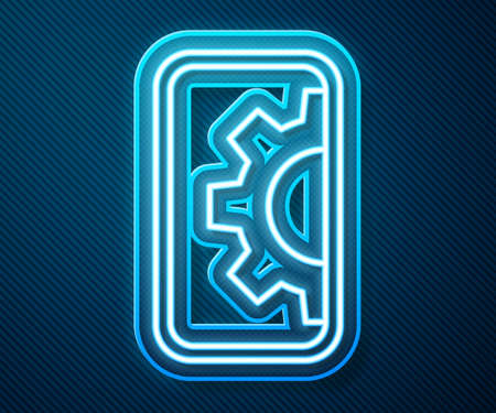 Glowing neon line Software, web development, programming concept icon isolated on blue background. Programming language and program code on screen mobile. Vector