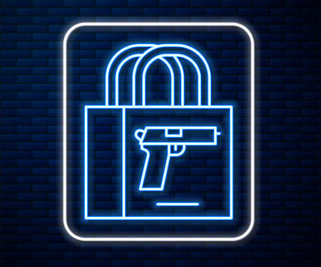 Glowing neon line Buying gun pistol icon isolated on brick wall background. Buying weapon. Vector Vettoriali