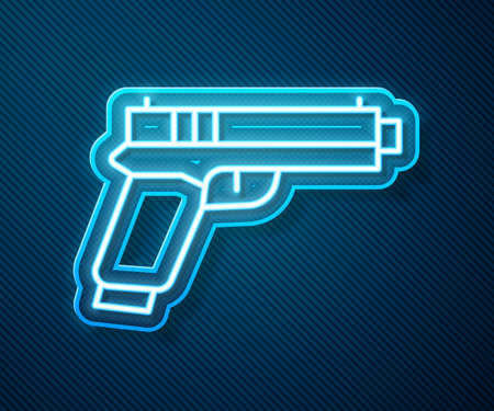 Glowing neon line Pistol or gun icon isolated on blue background. Police or military handgun. Small firearm. Vector Vettoriali
