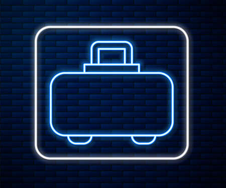 Glowing neon line Weapon case for storing and transporting weapons icon isolated on brick wall background. Vector