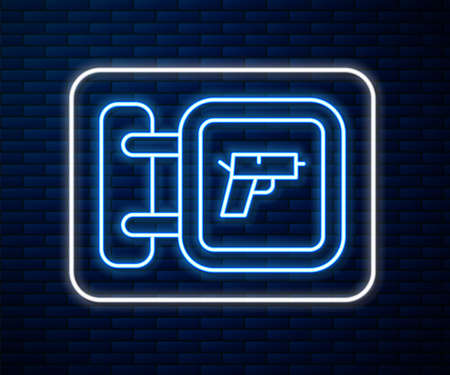 Glowing neon line Hunting shop with rifle and gun weapon icon isolated on brick wall background. Supermarket or store with weapon equipment. Vector