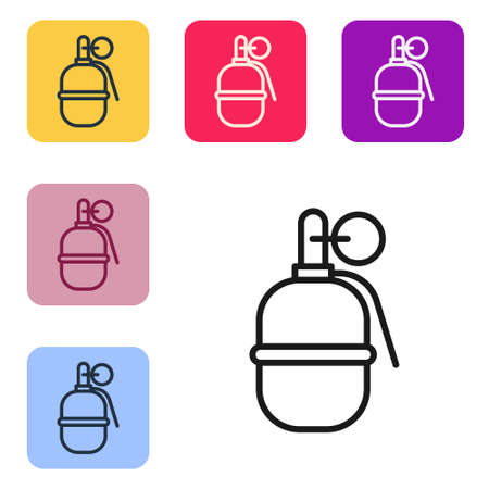 Black line Hand grenade icon isolated on white background. Bomb explosion. Set icons in color square buttons. Vector 向量圖像