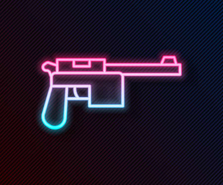 Glowing neon line Mauser gun icon isolated on black background. Mauser C96 is a semi-automatic pistol. Vector