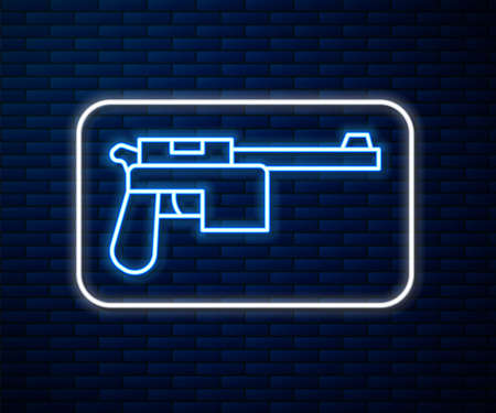 Glowing neon line Mauser gun icon isolated on brick wall background. Mauser C96 is a semi-automatic pistol. Vector