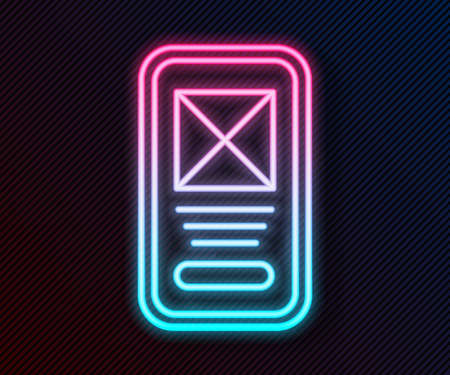 Glowing neon line UI or UX design icon isolated on black background. Vector Vettoriali