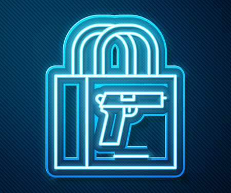 Glowing neon line Buying gun pistol icon isolated on blue background. Buying weapon. Vector