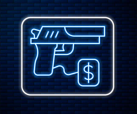 Glowing neon line Buying gun pistol with price tag icon isolated on brick wall background. Buying weapon. Vector