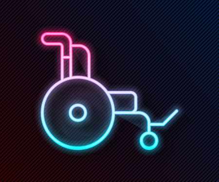 Glowing neon line Wheelchair for disabled person icon isolated on black background. Vector Vettoriali