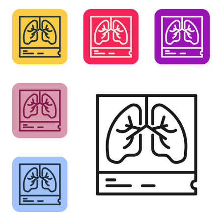Black line Lungs x-ray diagnostics icon isolated on white background. Snapshot of the lungs. Set icons in color square buttons. Vector Vettoriali