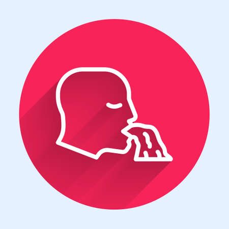 White line Vomiting man icon isolated with long shadow. Symptom of disease, problem with health. Nausea, food poisoning, alcohol poisoning concept. Red circle button. Vector
