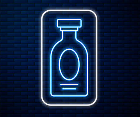 Glowing neon line Alcohol drink Rum bottle icon isolated on brick wall background. Vector