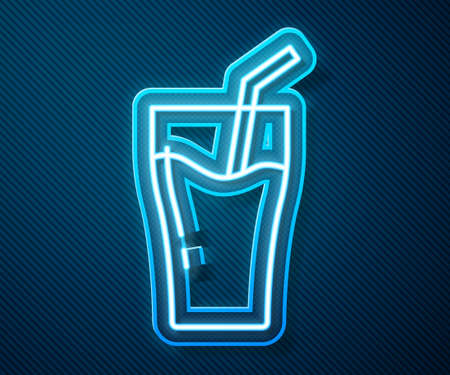 Glowing neon line Glass of juice icon isolated on blue background. Tube for drinking. Healthy organic food. Citrus fruit. Vector  イラスト・ベクター素材
