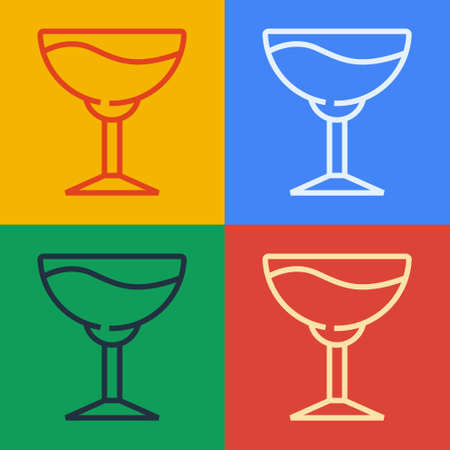 Pop art line Wine glass icon isolated on color background. Wineglass sign. Vector 일러스트