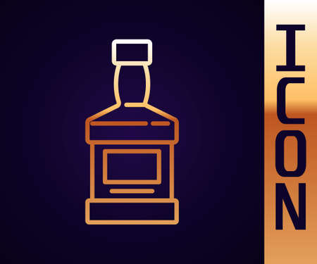 Gold line Whiskey bottle icon isolated on black background. Vector