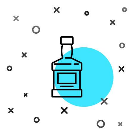 Black line Whiskey bottle icon isolated on white background. Random dynamic shapes. Vector 일러스트