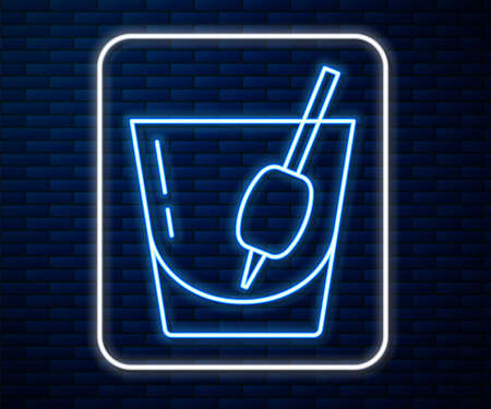 Glowing neon line Cocktail Bloody Mary icon isolated on brick wall background. Vector