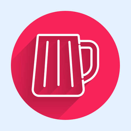 White line Wooden beer mug icon isolated with long shadow. Red circle button. Vector 일러스트