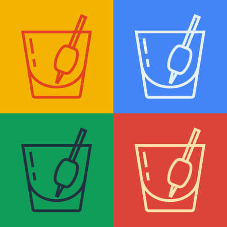 Pop art line Cocktail Bloody Mary icon isolated on color background. Vector