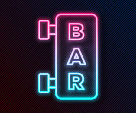 Glowing neon line Street signboard with inscription Bar icon isolated on black background. Suitable for advertisements bar, cafe, restaurant. Vector