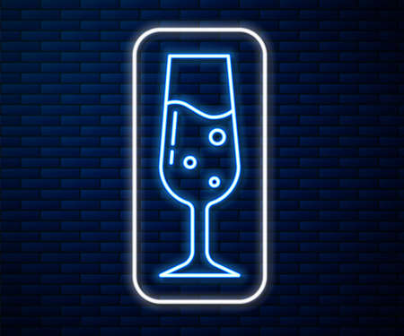 Glowing neon line Glass of champagne icon isolated on brick wall background. Vector