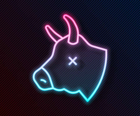 Glowing neon line Cow head icon isolated on black background. Vector Vettoriali