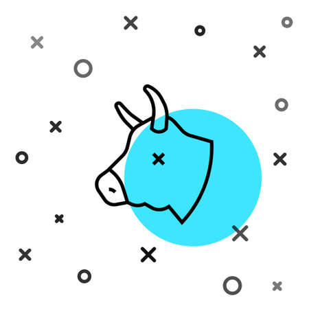 Black line Cow head icon isolated on white background. Random dynamic shapes. Vector