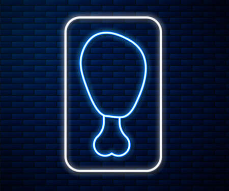 Glowing neon line Chicken leg icon isolated on brick wall background. Chicken drumstick. Vector