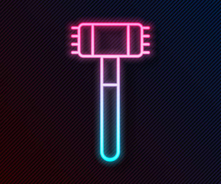 Glowing neon line Kitchen hammer icon isolated on black background. Meat hammer. Vector