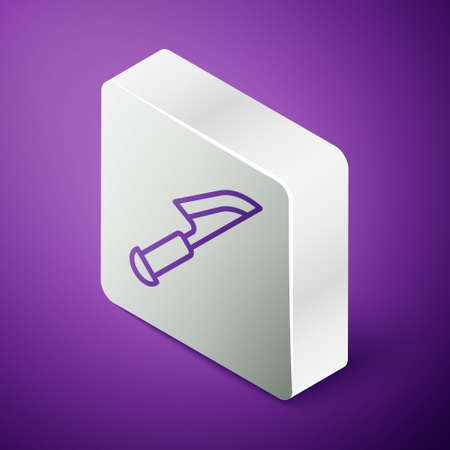 Isometric line Knife icon isolated on purple background. Cutlery symbol. Silver square button. Vector 일러스트