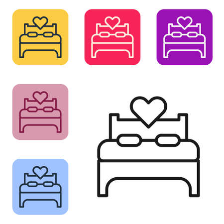 Black line Bedroom icon isolated on white background. Wedding, love, marriage symbol. Bedroom creative icon from honeymoon collection. Set icons in color square buttons. Vector 矢量图像