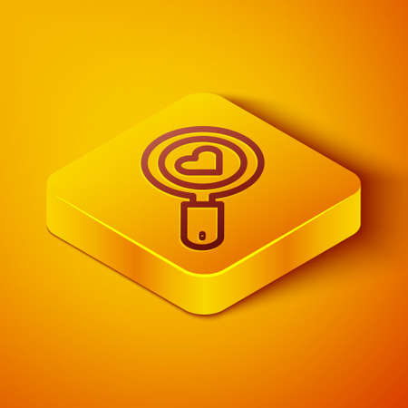 Isometric line Search heart and love icon isolated on orange background. Magnifying glass with heart inside. Yellow square button. Vector
