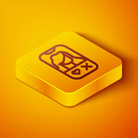 Isometric line Dating app online mobile concept icon isolated on orange background. Female male profile flat design. Couple match for relationship. Yellow square button. Vector