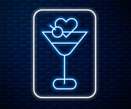 Glowing neon line Martini glass icon isolated on brick wall background. Cocktail icon. Wine glass icon. Vector 일러스트