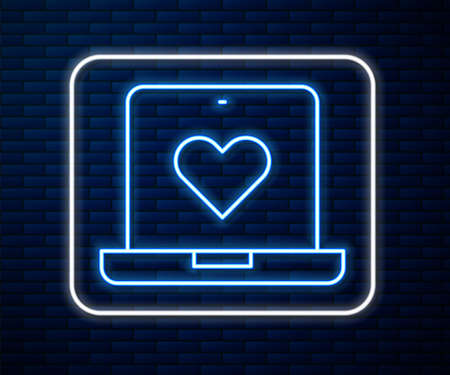 Glowing neon line Dating app online laptop concept icon isolated on brick wall background. Female male profile flat design. Couple match for relationship. Vector