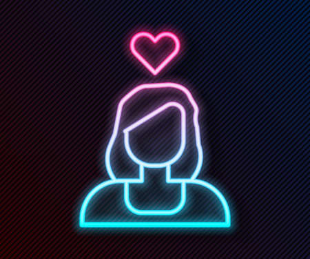 Glowing neon line Romantic girl icon isolated on black background. Happy Valentines Day. Vector