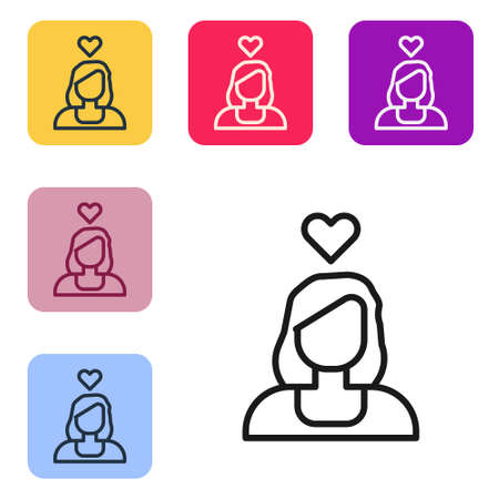 Black line Romantic girl icon isolated on white background. Happy Valentines Day. Set icons in color square buttons. Vector 일러스트