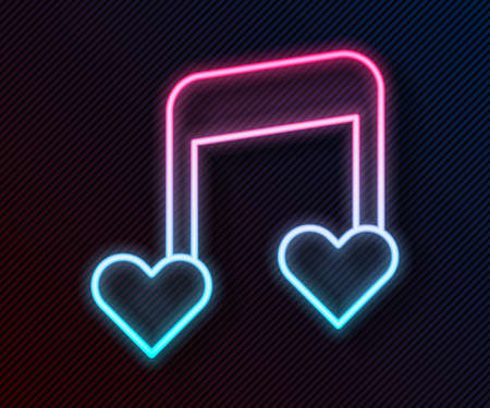 Glowing neon line Music note, tone with hearts icon isolated on black background. Valentines day. Vector 일러스트
