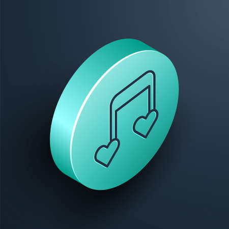 Isometric line Music note, tone with hearts icon isolated on black background. Valentines day. Turquoise circle button. Vector