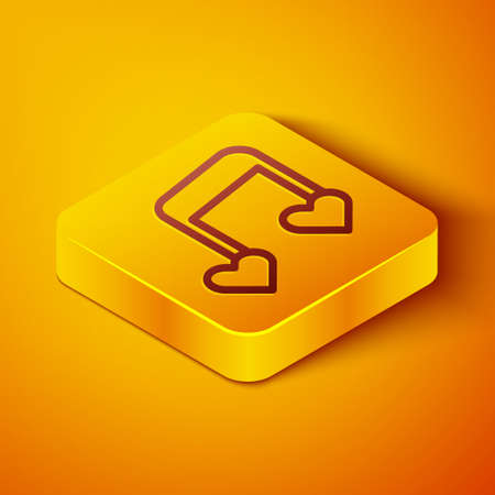 Isometric line Music note, tone with hearts icon isolated on orange background. Valentines day. Yellow square button. Vector 일러스트
