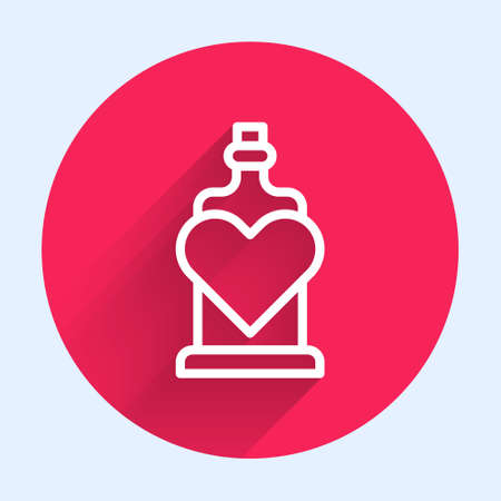 White line Bottle with love potion icon isolated with long shadow. Valentines day symbol. Red circle button. Vector 일러스트