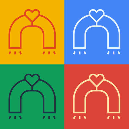 Pop art line Love magnet icon isolated on color background. Vector