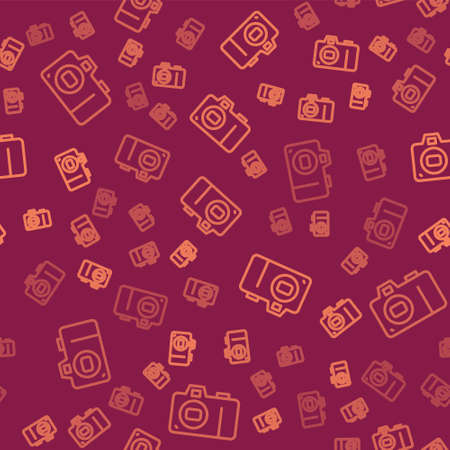 Brown line Photo camera icon isolated seamless pattern on red background. Foto camera icon. Vector
