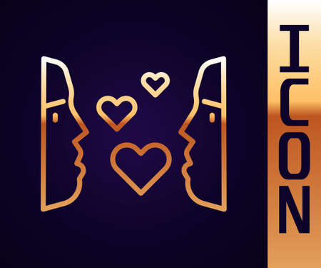 Gold line Love at first sight icon isolated on black background. Vector 矢量图像