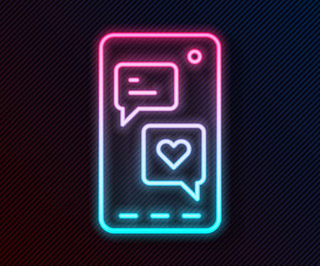 Glowing neon line Smartphone with heart emoji speech bubble get message on screen icon isolated on black background. Valentines day. Vector